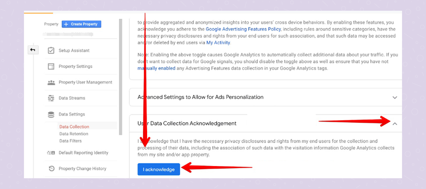 User Data Collection Acknowledgement